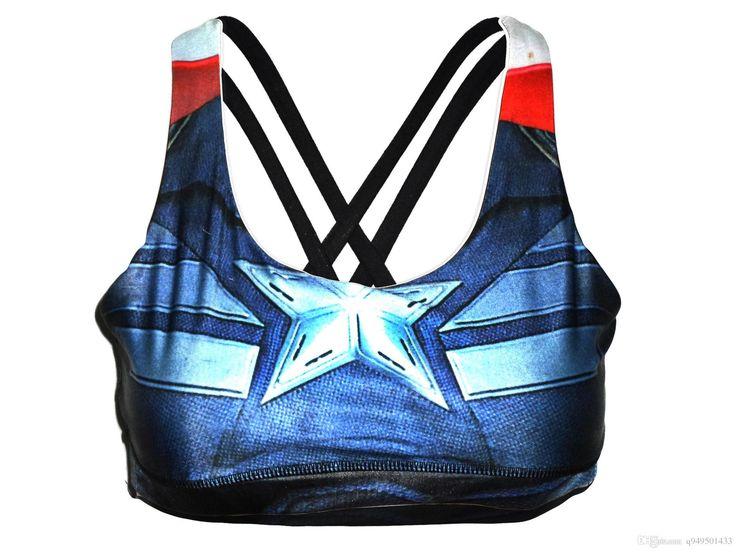free Women Sports Bra underTop Running lulu Underwear Superhero Superman Batman Spiderman Captain America engrey bras Tank Tops