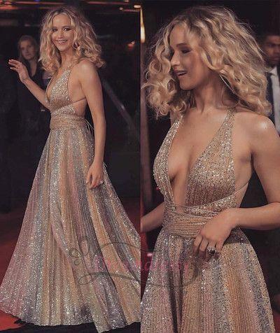 Halfter Gold Pailletten langes Abendkleid Partykleid von dreamdressy