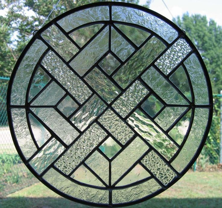 Clear Woven Round Stained Glass Panel.