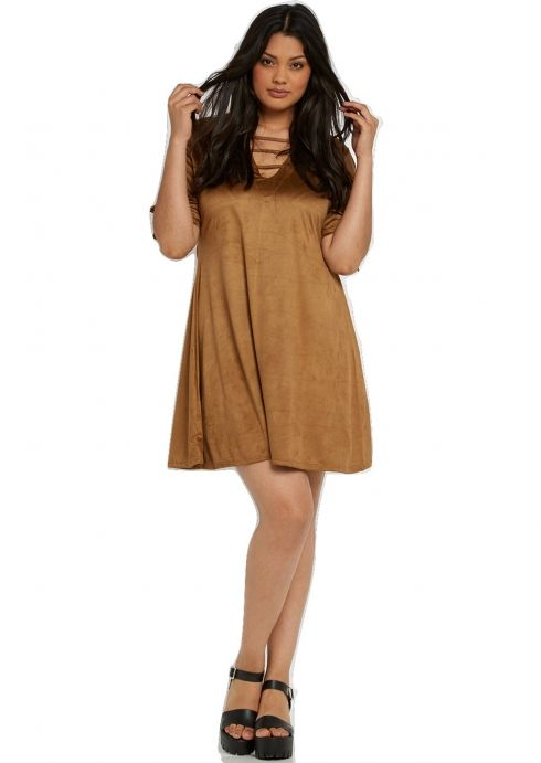 Plus Size Mika Suedette Multi Strap Swing Dress in Tan
