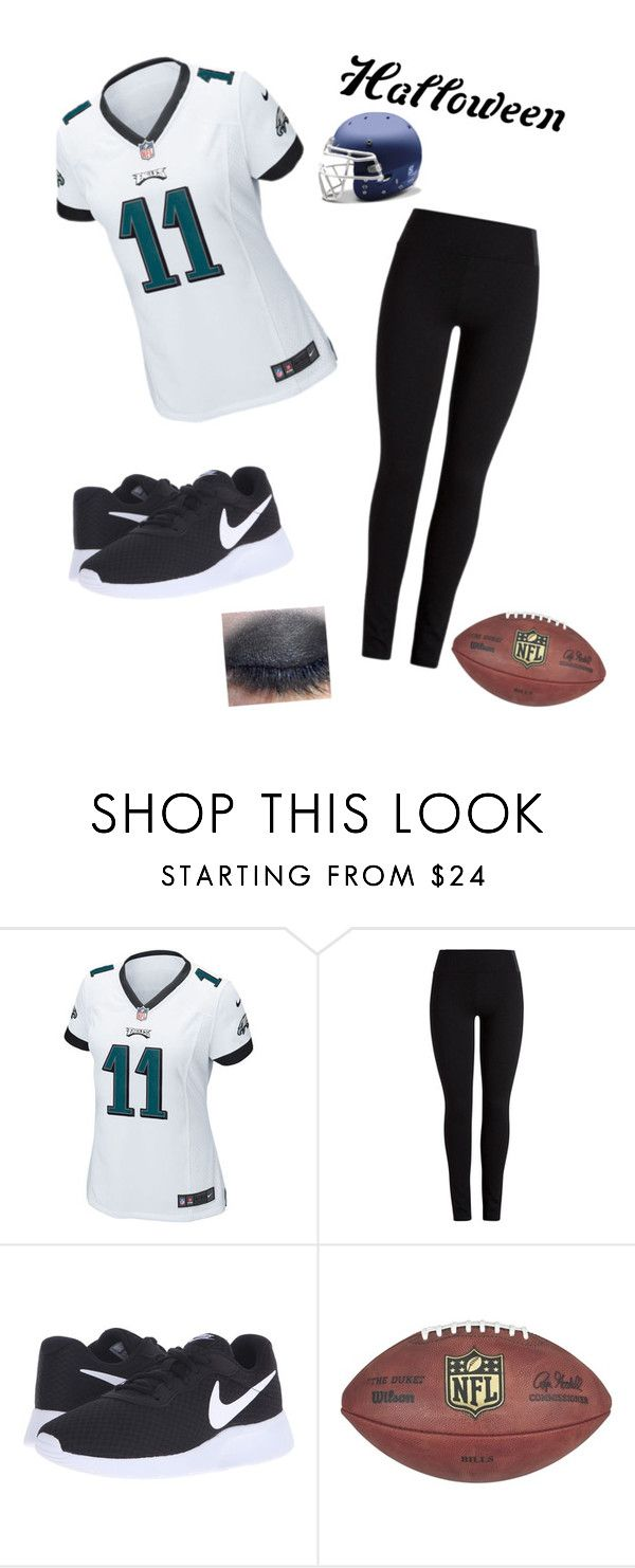 """I  FOOTBALL:Halloween Costume"" by leahbingbing ❤ liked on Polyvore featuring NIKE, halloweencostume and DIYHalloween"