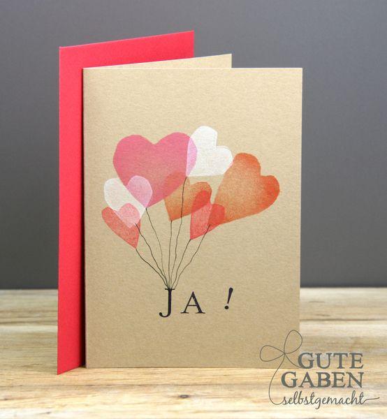 +Klappkarte+Hochzeit++JA!++von++GuteGaben+++auf+DaWanda.com
