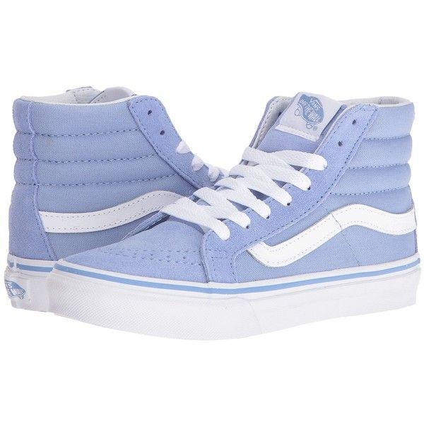 Vans SK8-Hi Slim (Bel Air Blue/True White) Skate Shoes (£52) ❤ liked on Polyvore featuring shoes, sneakers, skate shoes, blue sneakers, white shoes, vans high tops and white leather sneakers