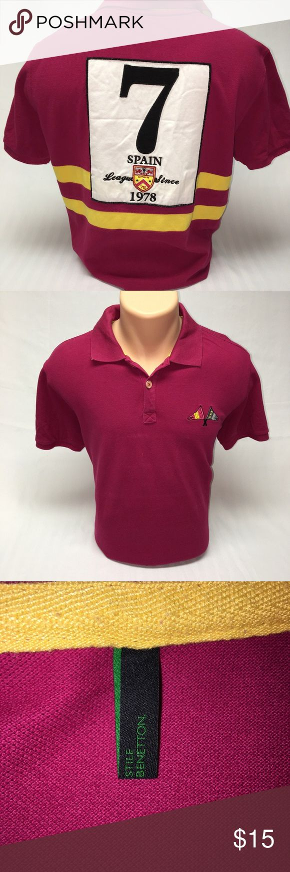 """Stile Benetton """"Spain"""" polo (XL) Stile Benetton """"Spain"""" polo (XL), some marks on front from ironing, *XL FITS LIKE A LARGE* United Colors Of Benetton Shirts Polos"""