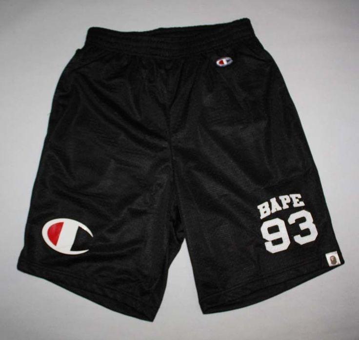 Bape A Bathing Ape Champion Collaboration Black Basketball Man Shorts Size L 28 #Bape #Athletic