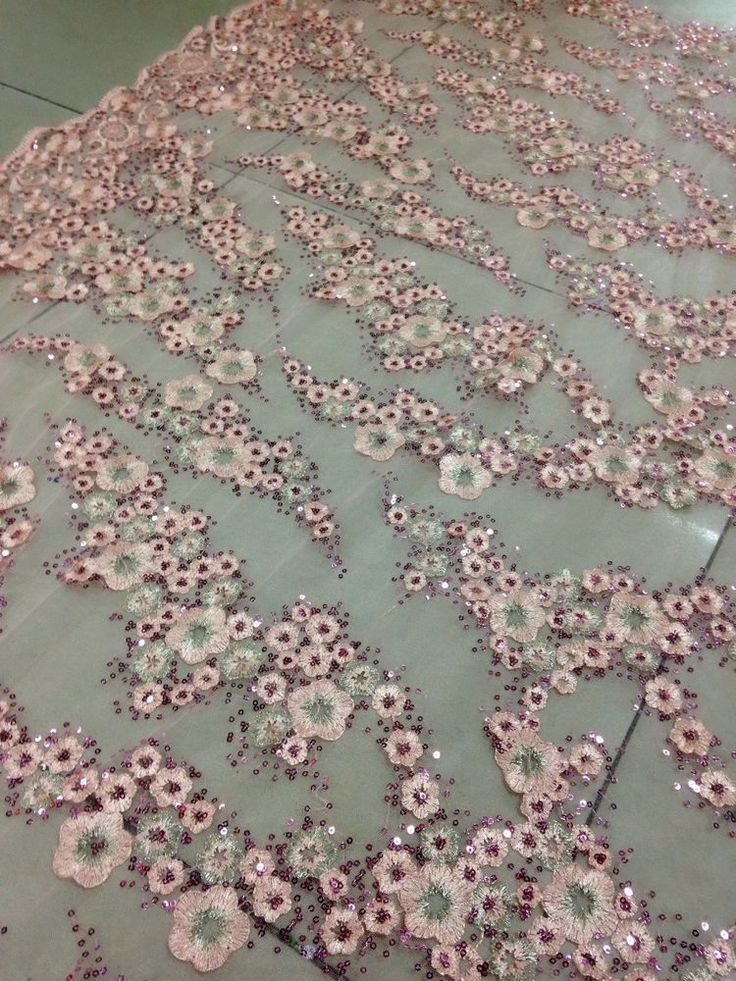 FLORAL EMBROIDERY LACE FABRIC/1yard*1.48yard/dusty pink mesh/sequins #sunnyjiang2009