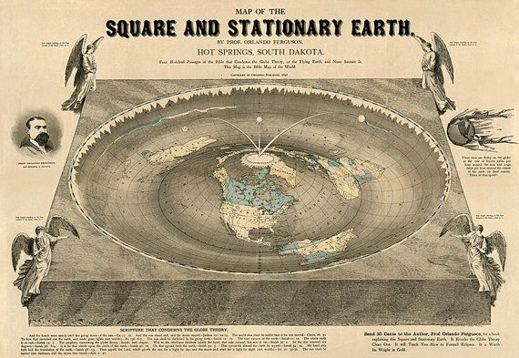 World Map Of Square Stationary Flat Earth 1893 Antique Reprint