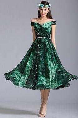 eDressit Off Shoulder Tea Length Summer Printed Dress (04152104)