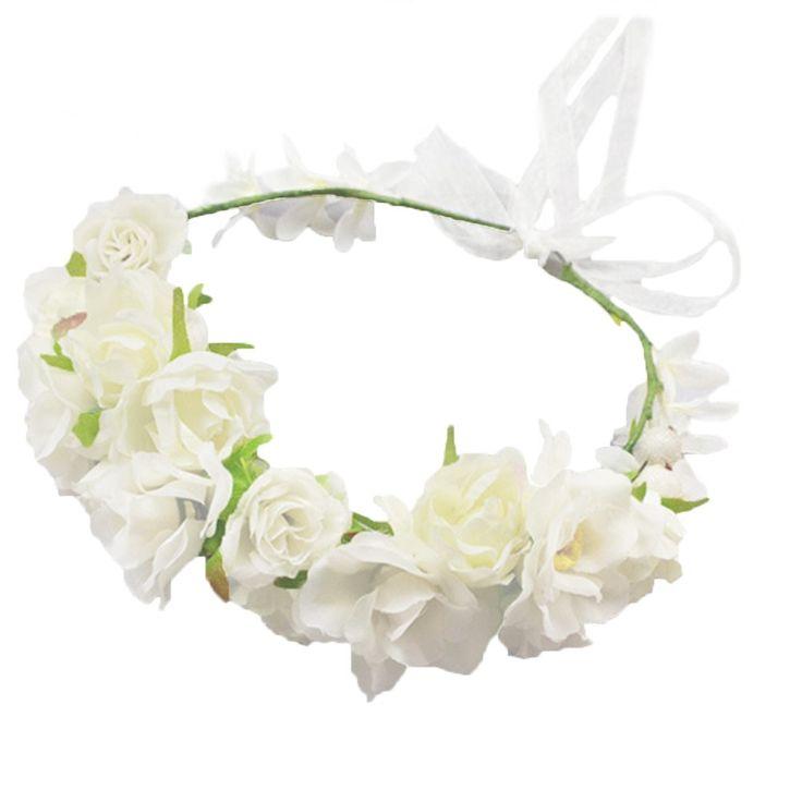 Vivivalue Camellia Berries Flower Wreath Headband Crown Garland with Ribbon Boho for Festival Wedding White
