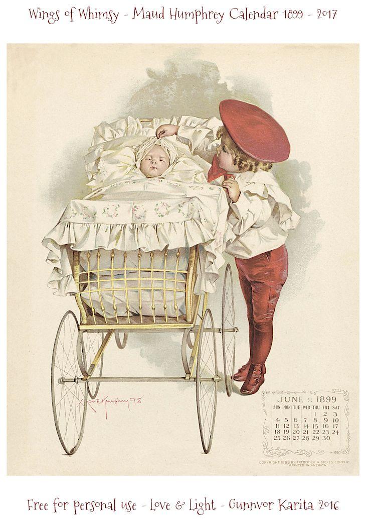 Wings of Whimsy: Maud Humphrey Calendar 1899 #vintage #ephemera #freebie #printable #calendar #maud #humphrey