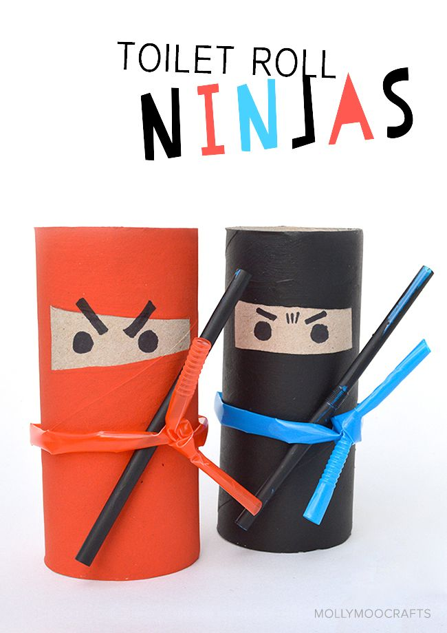 How to make Toilet Roll Ninjas - what a fun and simple craft for boys and girls to make at home, school or on ninja themed birthday parties! // MollyMooCrafts.com