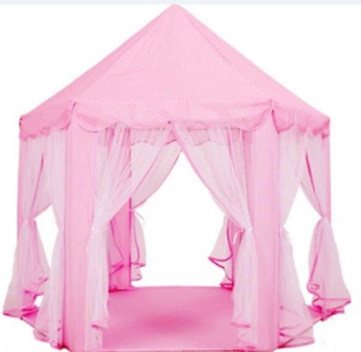 Amazon | キッズハウス 六角プレイテント プリ ンセスのおうち 子供のお城 お姫さま 子供の夢の遊び場(収納バック付き ピンク) | キッズテント 通販