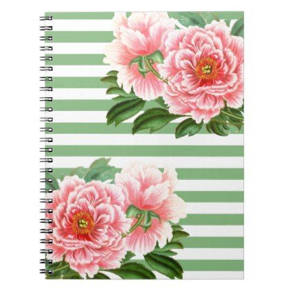 Pink Peonies Green Stripes Notebook - romantic gifts ideas love beautiful