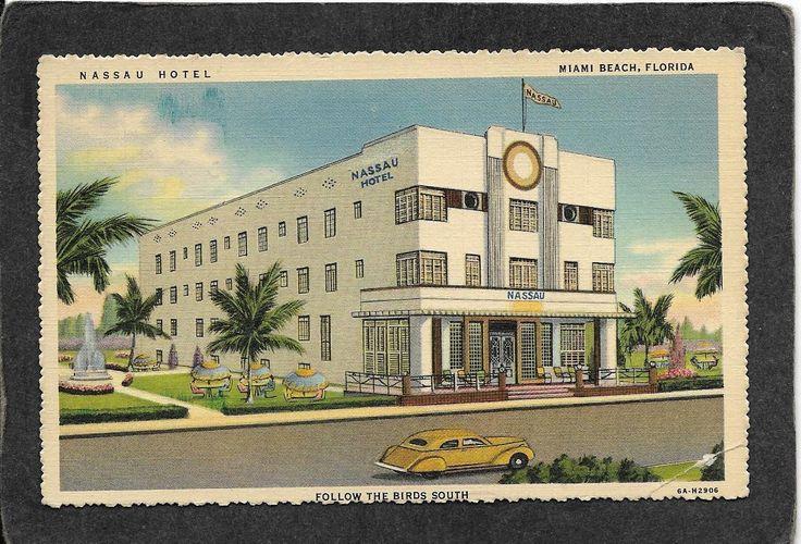 Miami Beach FL Art Deco The Nassau Hotel Linen 1939 Mint Antique Postcard | eBay