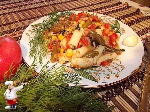 Макароны с овощами