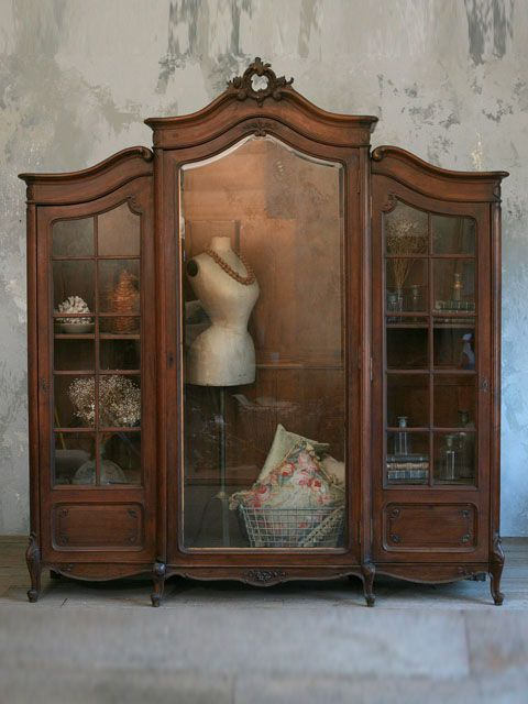 French armoire second life: display cabinet.