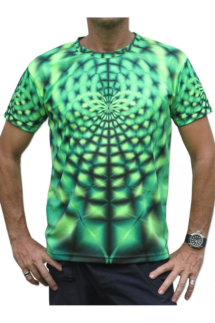 """UV Sublime S/S T : Lime Web Fully printed short sleeve T shirt. This shirt is an """"All Over"""" printed T shirt that will really grab people's attention. Printed using sublimation printing on a high quality UV Yellow polyester / Dri-Fit blended shirt. This allows for extremely vibrant colors that will never fade away no matter how many times it gets washed, & results in an extremely soft """"feel"""" to the shirt for ultimate comfort. UV active - Glows under black light ! Artwork by Space Tribe"""