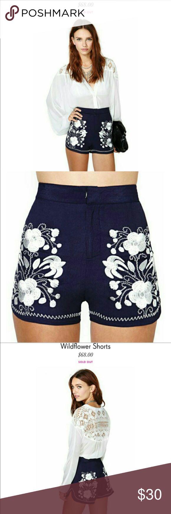 Nasty gal shorts. Like new navy & white embroidered Nast Gal shorts. Only worn once. Nasty Gal Shorts