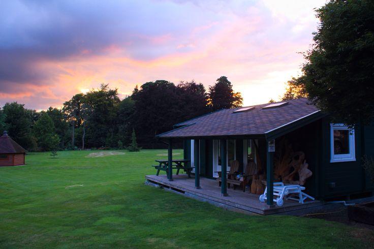 Sunset at Log Cabins Scotland.