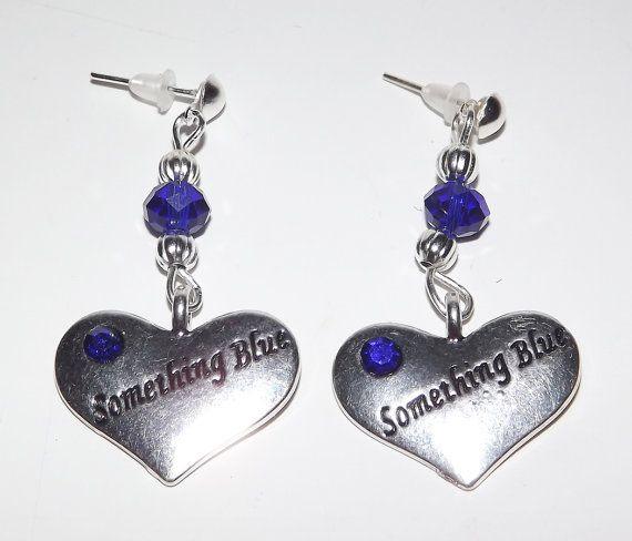 Something Blue Heart Stud Earrings  FREE UK P&P  by KasumiCrafts