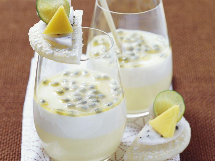 Passionsfrucht-Kokos-Creme   Zeit: 50 Min.   http://eatsmarter.de/rezepte/passionsfrucht-kokos-creme