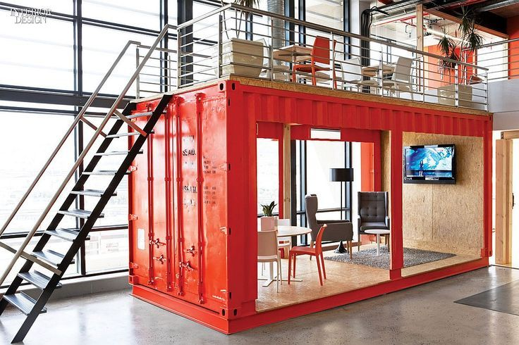 Inhouse repurposed a shipping container for the reception area at the Cape Town advertising agency Ninety9Cents.: