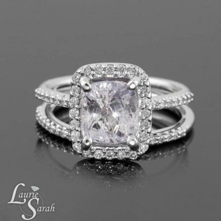 Faint Pink Sapphire Wedding Set With Diamond Half Eternity Band In 14kt White Gold