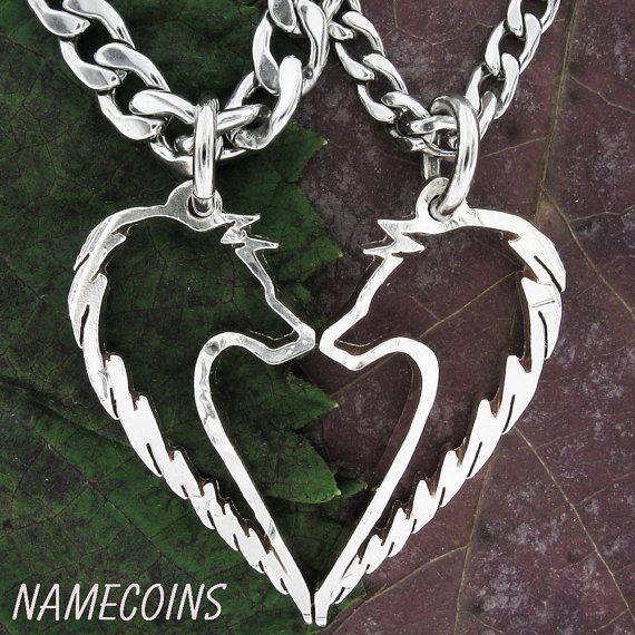 Tribal Wolf Necklace Couples Jewelry set handcrafted by NameCoins, $84.99