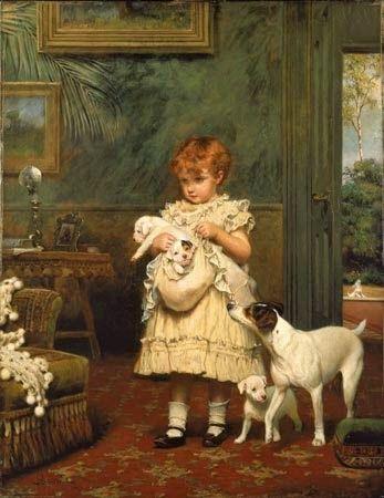 Menina com Cães - Charles Burton Barber ~ Um dos pintores mais incríveis da Inglaterra