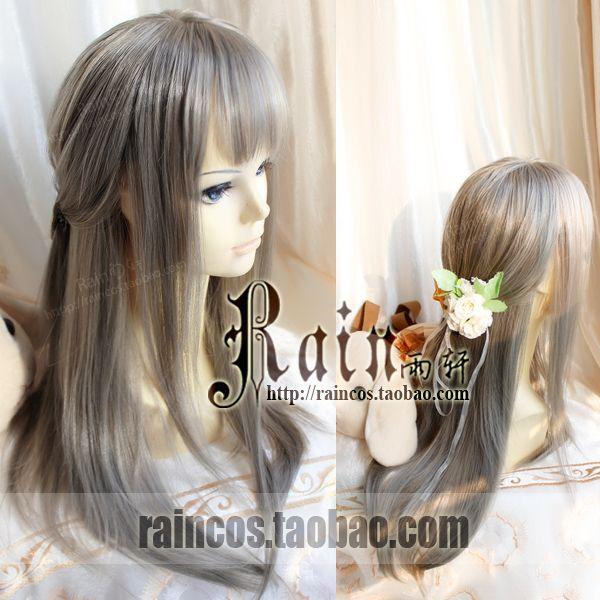 """Rain Yu Xuan"" daily simulation Harajuku soft sister yurisa tea green heather gray gray wig - Taobao global Station"