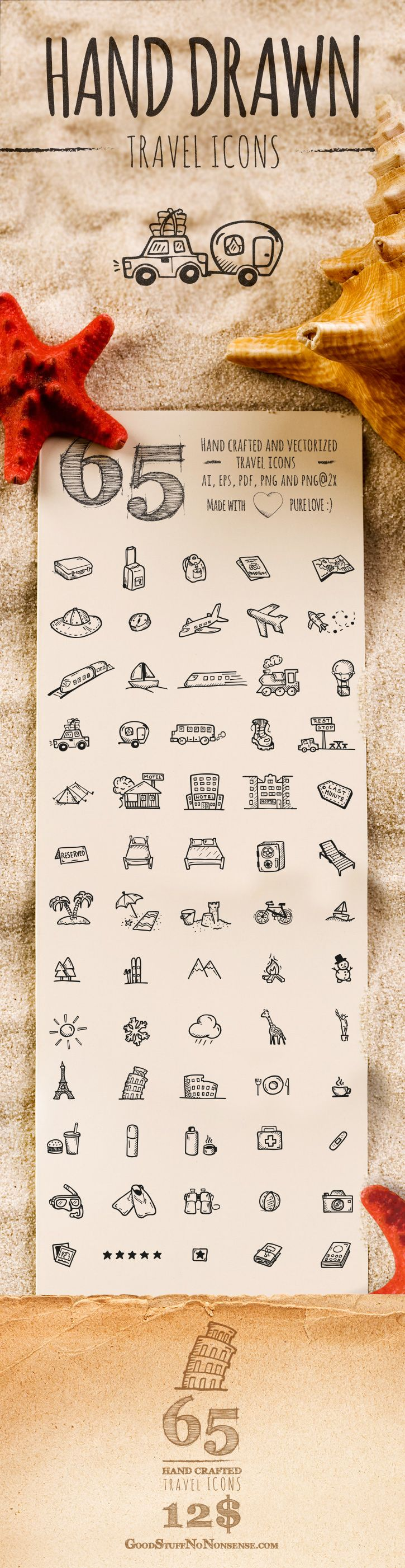 65 Travel Icons Hand Drawn Vector Icons all about traveling and vacations. You will find there such useful transportation icons like a plane, boat, train or a car with a trailer. Or location icons like: sandy beach, forest, mountains or even a tropic island. There are also some memorable landmarks icons like: an Eiffel Tower or Statue of Liberty.