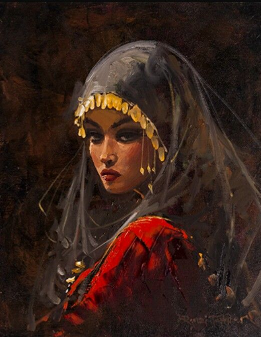 A lady in traditional Muslim dress.  Artist Remzi Taşkıran