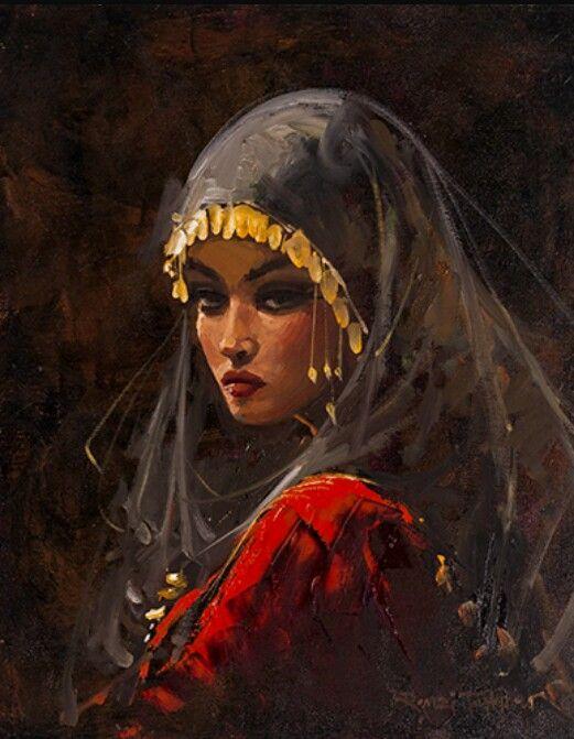 A lady in traditional Muslim dress.  Artist Remzi Taşkıran