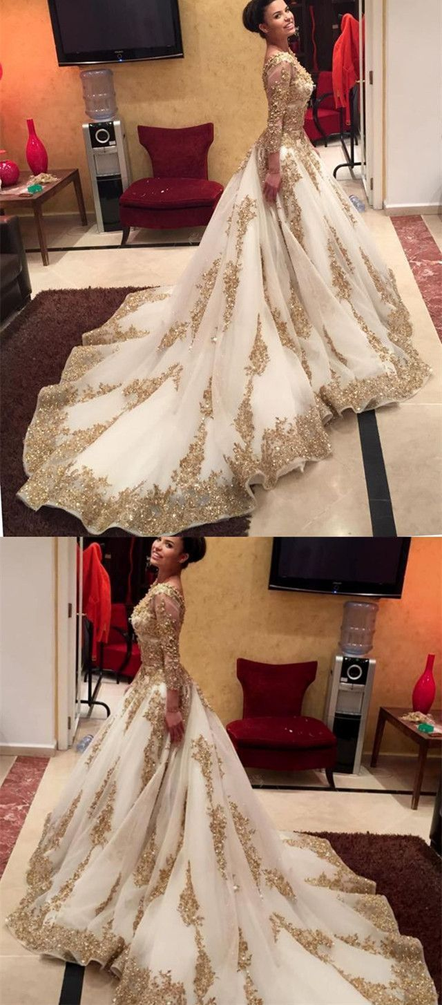 White organza ball gowns long sleeves wedding dresses gold lace