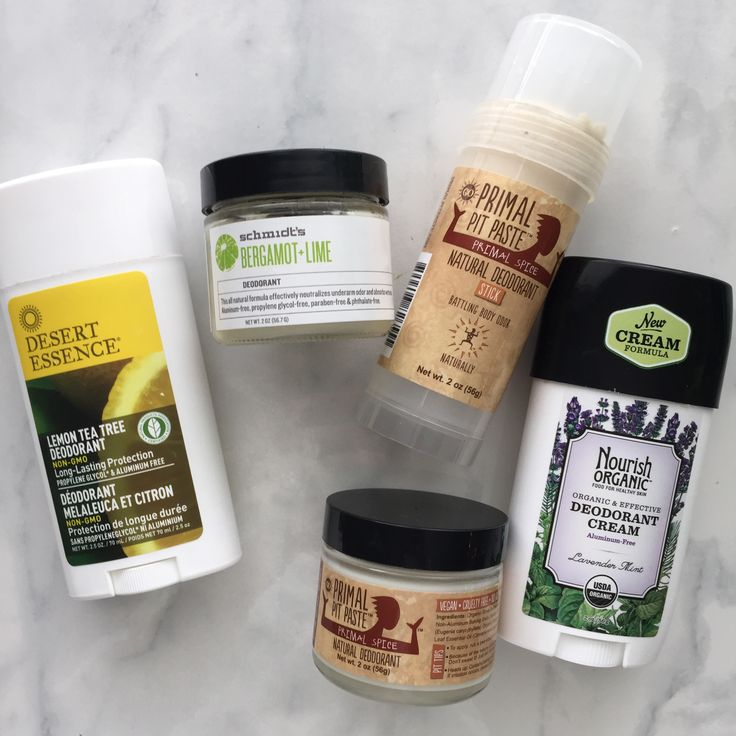 Natural Deodorants that actually work! Nourish Organics, Schmidt's Deo, Primal Pit Paste, Desert Essence Deodorant.
