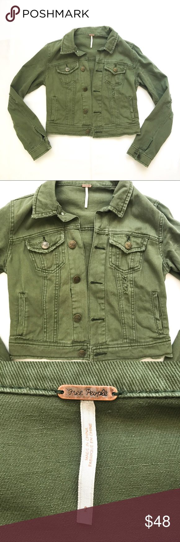 Free People distressed olive jacket Free People distressed olive jacket Free People Jackets & Coats Jean Jackets
