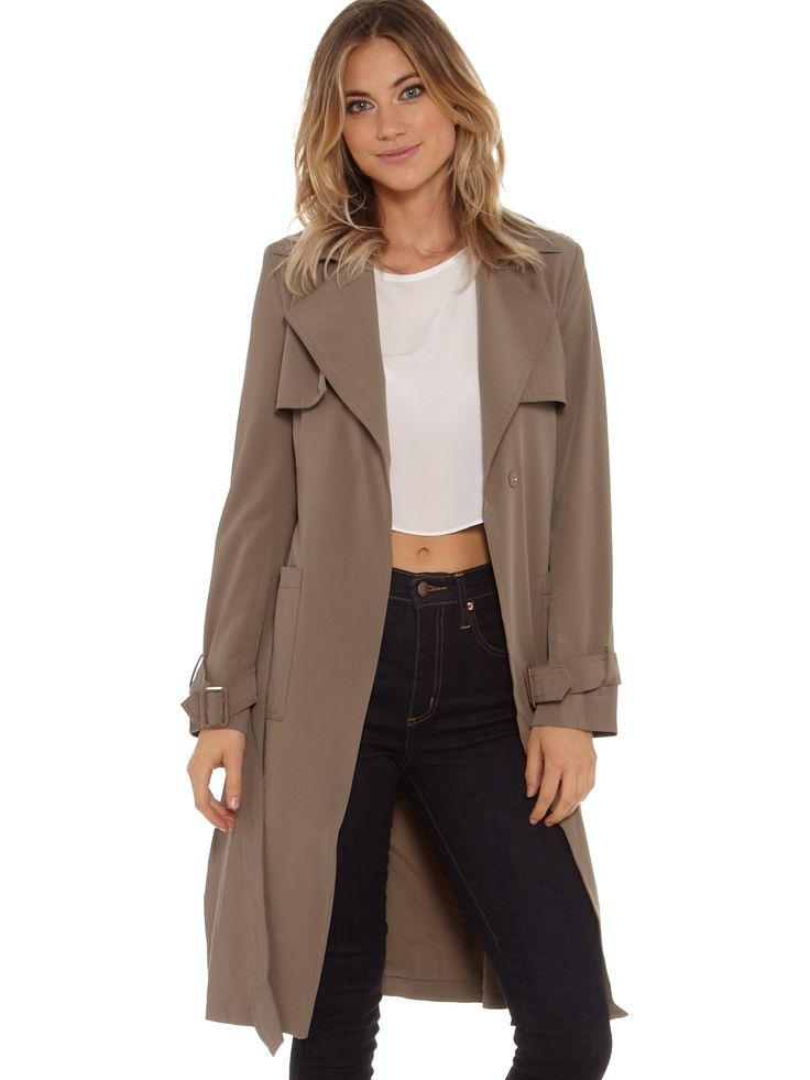 Glamorous Flasher Light Trench Coat in Taupe NEW at Westfield Bondi Junction