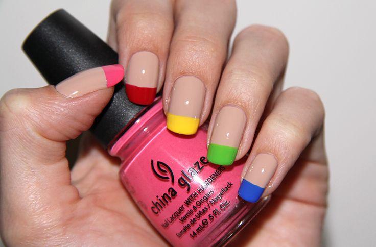 Rainbow french manicure. Sigh.