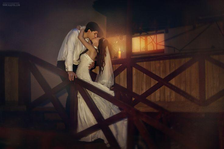 жених, невеста, вечер, поцелуи