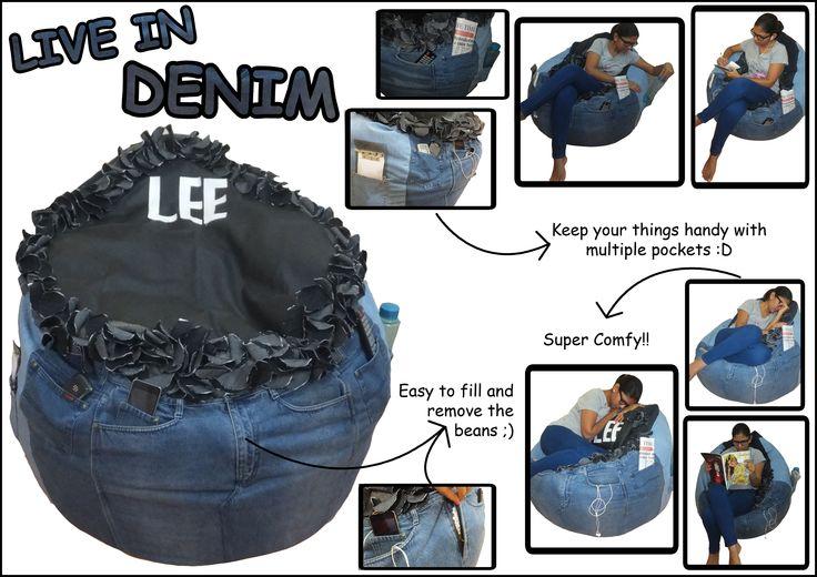 DIY Bean Bag out of old denims <3