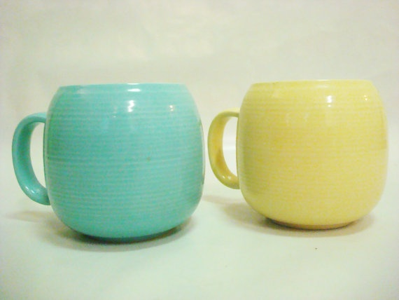 Vintage Coffee Mug Tea Cup Set of 2 Blue & Yellow by vintagehype, $10.00