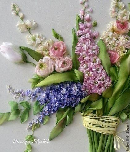 Купить или заказать Весенние цветы в интернет-магазине на Ярмарке Мастеров. Авторская работа 29*33 Техника вышивка лентами. Шелковые ленты, ленты 'Мажестик', окрашенные и тонированные вручную.
