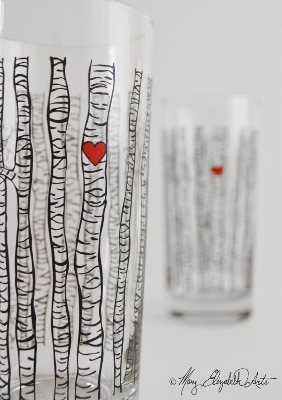 Gorgeous Birch Tree Glasses. This collection features my Birch Tree design. Perfect for the couple who loves spending time together in nature.