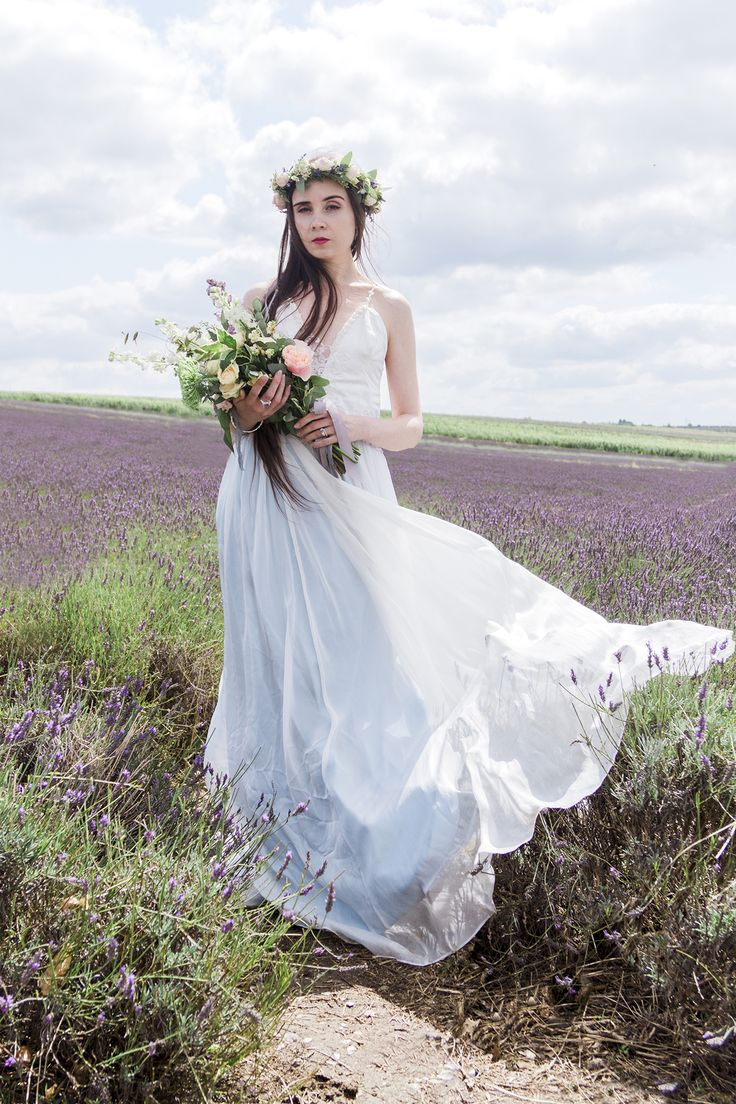 Bridal Separate 'Hollyhock' by Jessica Turner Designs for the Luxe Bohemian Bride.  A low plunging neckline and silk knitted straps with a pretty lace detail on the back.  Jasmine Photography and Violets and Velvet Floral Work