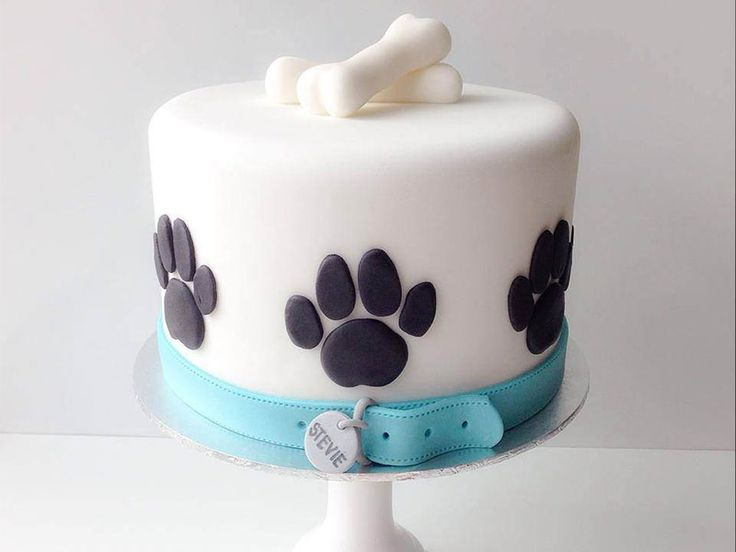 White dog cake with bones and paws.