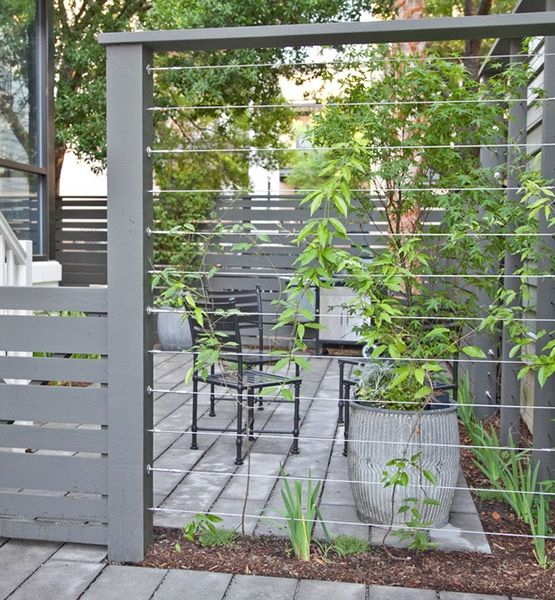 Cable wires mounted between fence posts create a sturdy support for climbing plants. Over time the plants will fill in the area, providing privacy for your patio.