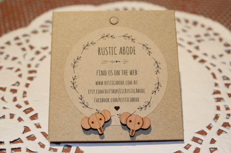 Handmade Wooden Laser Cut Stud Earrings ~ Elephant Heads