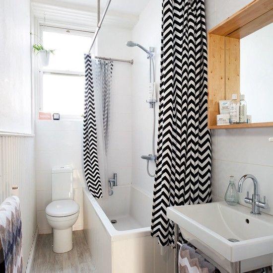 White bathroom with black shower curtain   Bathroom decoration   Ideal Home   Housetohome.co.uk