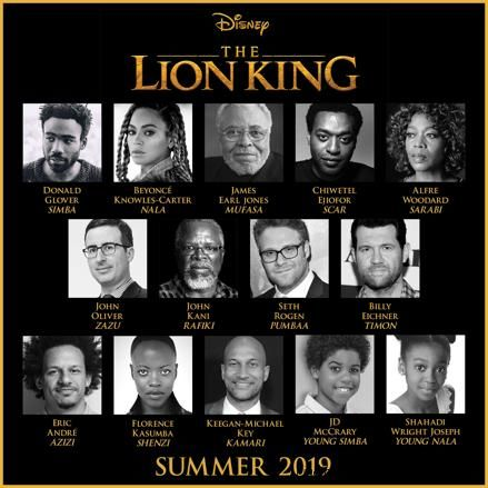 Check out the amazing cast which has been announced for Jon Favreau's Big Screen Adventure THE LION KING coming to theaters 2019. #TheLionKing