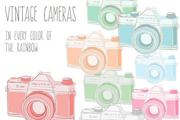 by Angie Makes in Graphics  Illustrations. This vintage camera package includes clip art PNG images, an EPS vector file with camera outlines, and layered PSD documents. Images come in the colors shown. Comes with 12 PNG images in the Pentax style camera and in 4 of the Polaroid camera. Guaranteed t…